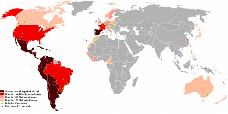 Map of where Spanish is spoken